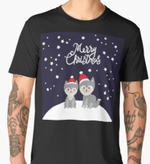 Merry Christmas New Year's card design funny gray husky dog in red hat, Kawaii face with large eyes and pink cheeks, boy and girl on darck blue background Men's Premium T-Shirt
