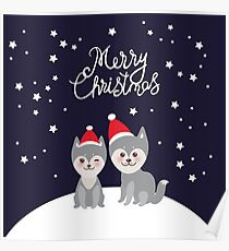 Merry Christmas New Year's card design funny gray husky dog in red hat, Kawaii face with large eyes and pink cheeks, boy and girl on darck blue background Poster