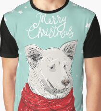 Merry Christmas New Year's card design White dog in a Christmas red knitted sweater. Shepherd. Sketch drawing. Black contour and white stars on blue background Graphic T-Shirt