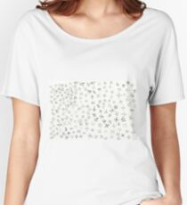 A cluster of small drawings on top of the crosses. Women's Relaxed Fit T-Shirt