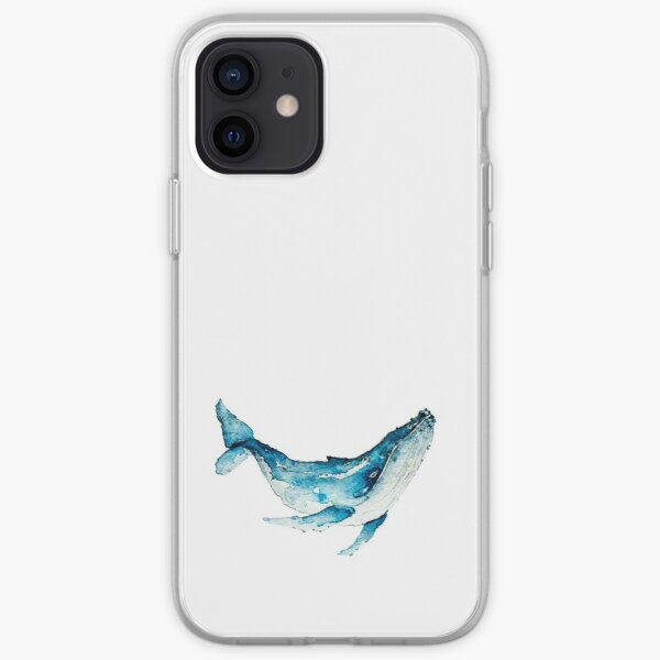 Hand paint watercolor whale illustration. Animal of ocean theme. iPhone Soft Case
