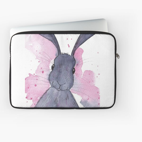 Bunny Art Menthe poivrée avec fond rose Housse d'ordinateur