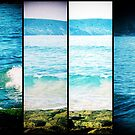 Tangy Turquoise Sea and Rocks Multi-Lens Black Border Vintage Photo by Sue Wellington
