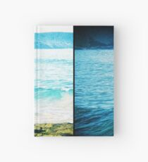 Tangy Turquoise Sea and Rocks Multi-Lens Black Border Vintage Photo Hardcover Journal