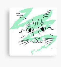Meow sketch green Canvas Print