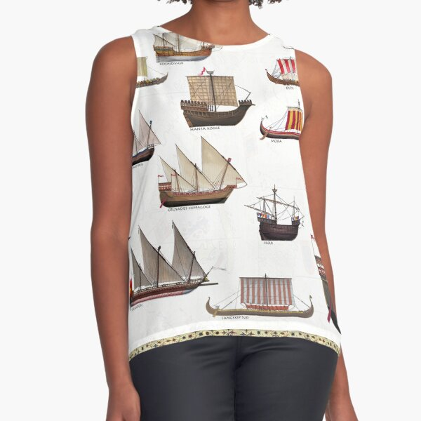 Medieval Ships Sleeveless Top