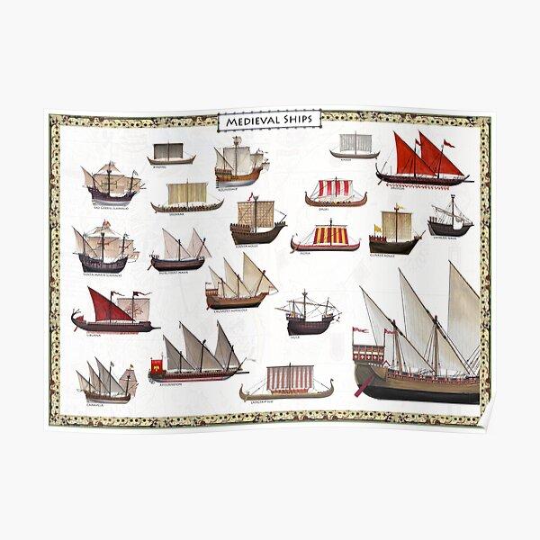Medieval Ships Poster