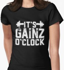 It's Gainz O'Clock Gym Fitness Health Women's Fitted T-Shirt