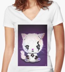 Punky Persian Kitty - Purple Women's Fitted V-Neck T-Shirt
