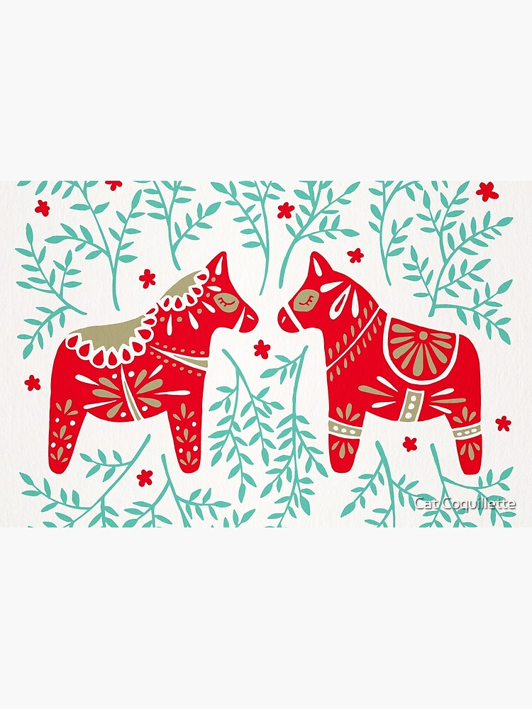 Swedish Dala Horses – Red & Mint Palette by catcoq