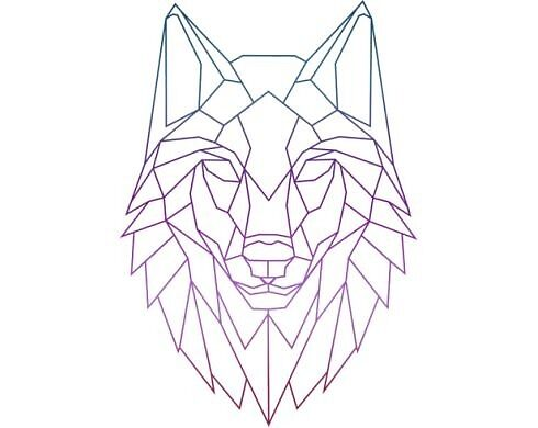 """Geometric wolf colorful"" by mvleo100 