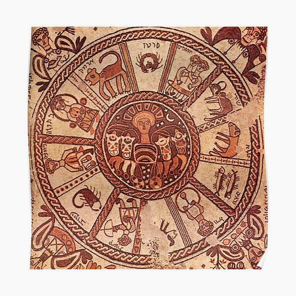 Wheel of the Zodiac, 6th Century Mosaic pavement in a synagogue incorporates Greek, Byzantine elements, Beit Alpha, Israel. Poster