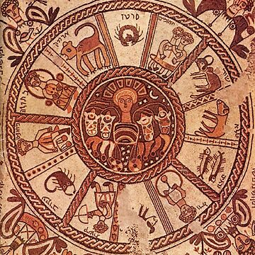 Wheel of the Zodiac, 6th Century Mosaic pavement in a synagogue incorporates Greek, Byzantine elements, Beit Alpha, Israel. by TOMSREDBUBBLE