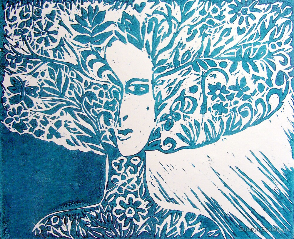 Tree Spirit - turquoise by Gudrun Eckleben