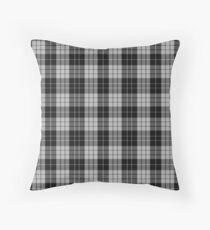 Black and White   Scottish Clan Tartan Throw Pillow