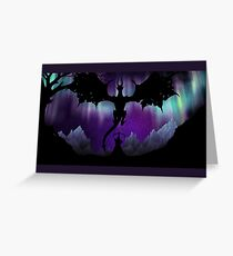Dragon fight under the Aurora (framed version) Greeting Card