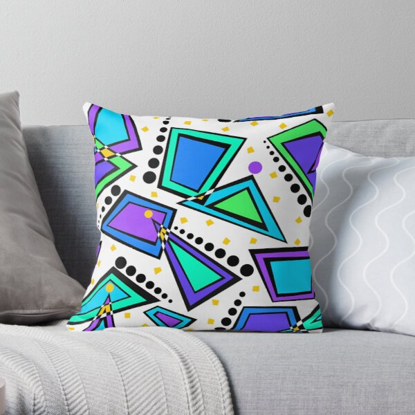 City Lights Memphis Style Retro Pattern Throw Pillow