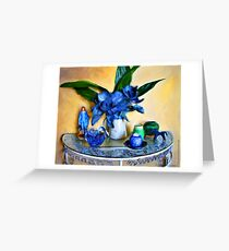 Blue Boy, Cabbage and Asphidistra Greeting Card
