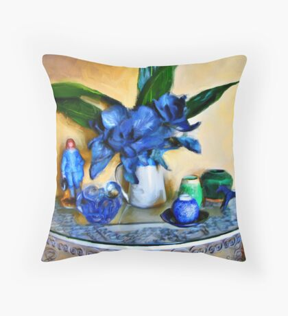 Blue Boy, Cabbage and Asphidistra Throw Pillow