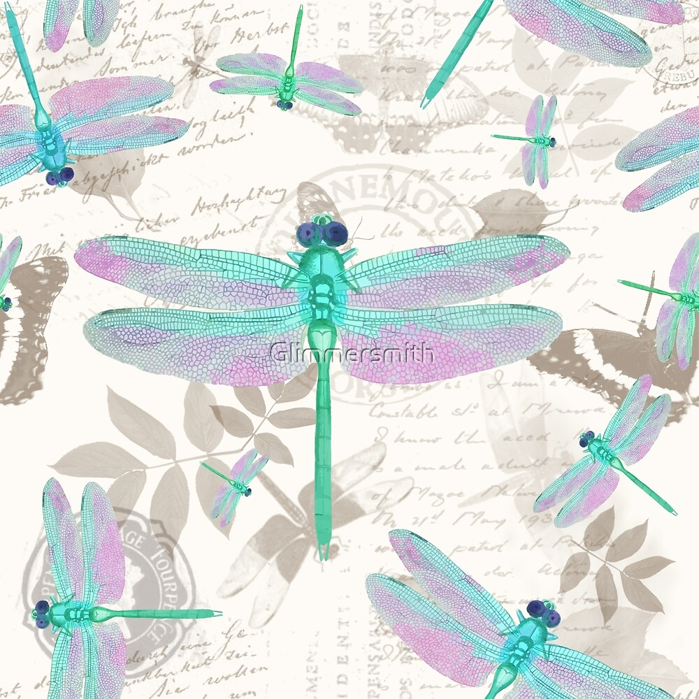 Vintage Botanicals collection Sea Foam green, Pink dragonflies by Glimmersmith