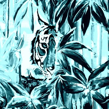A Peek at a Tiger in Turquoise Blue by artistshoshanna