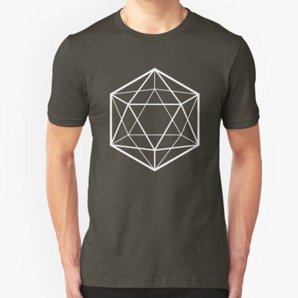 Clear icosahedron (dark background) Slim Fit T-Shirt