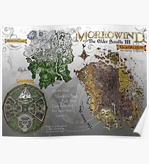 Morrowind, Elder Scrolls, 3 Islands Map, Poster Restoration Poster