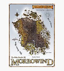 Morrowind Vvardenfell Map Restoration Project, Restored Vintage Print Photographic Print