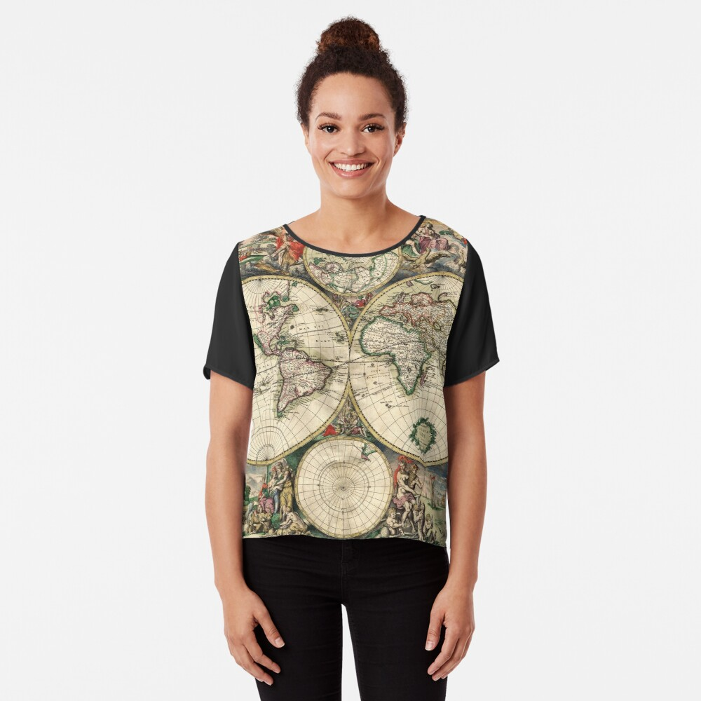 Vintage Maps Of The World 1689 Chiffon Top
