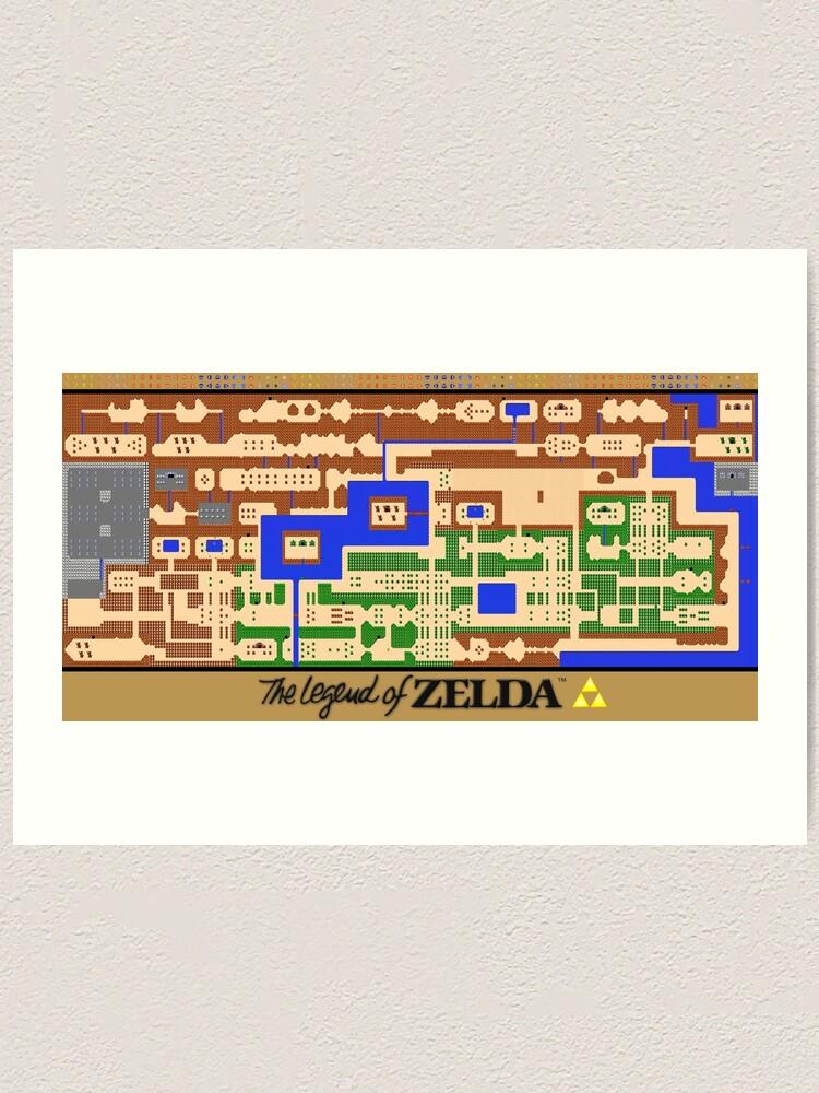 Die Legende von Zelda Map Poster - Retro, NES, beliebte Restaurierung |  Kunstdruck