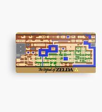 Legend of Zelda Map Poster - Retro, NES, Popular Restoration Metal Print