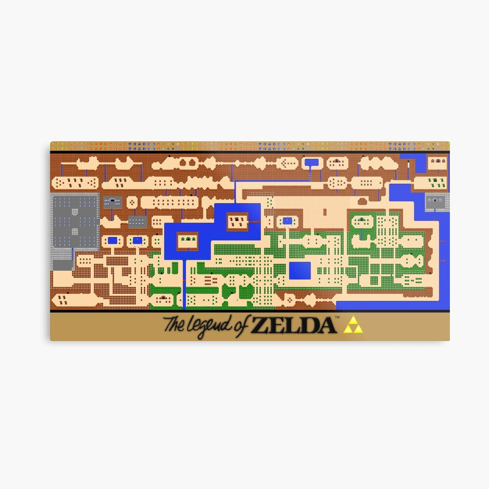 Die Legende von Zelda Map Poster - Retro, NES, beliebte Restaurierung |  Metallbild