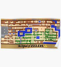Legend of Zelda Map Poster - Retro, NES, Popular Restoration Poster