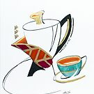 Clutching Coffee: Mixed Media Collage by Alma Lee