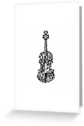 Black and white violin zentangle greeting cards by jade flowers black and white violin zentangle by jade flowers m4hsunfo