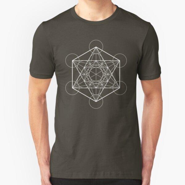 Metatron's Cube (dark background) Slim Fit T-Shirt