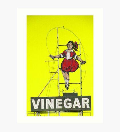 skipping girl in yellow Art Print