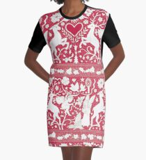 Antique lace - claret and cream - Traditional Christmas pattern by Cecca Designs Graphic T-Shirt Dress