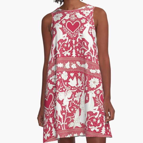Antique lace - claret and cream - Traditional Christmas pattern by Cecca Designs A-Line Dress