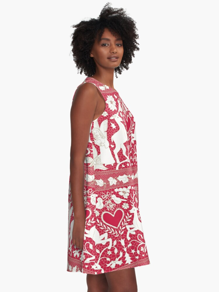 Alternate view of Antique lace - claret and cream - Traditional Christmas pattern by Cecca Designs A-Line Dress