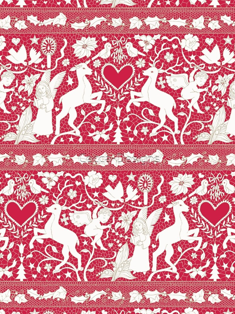 Antique lace - claret and cream - Traditional Christmas pattern by Cecca Designs by Cecca-Designs