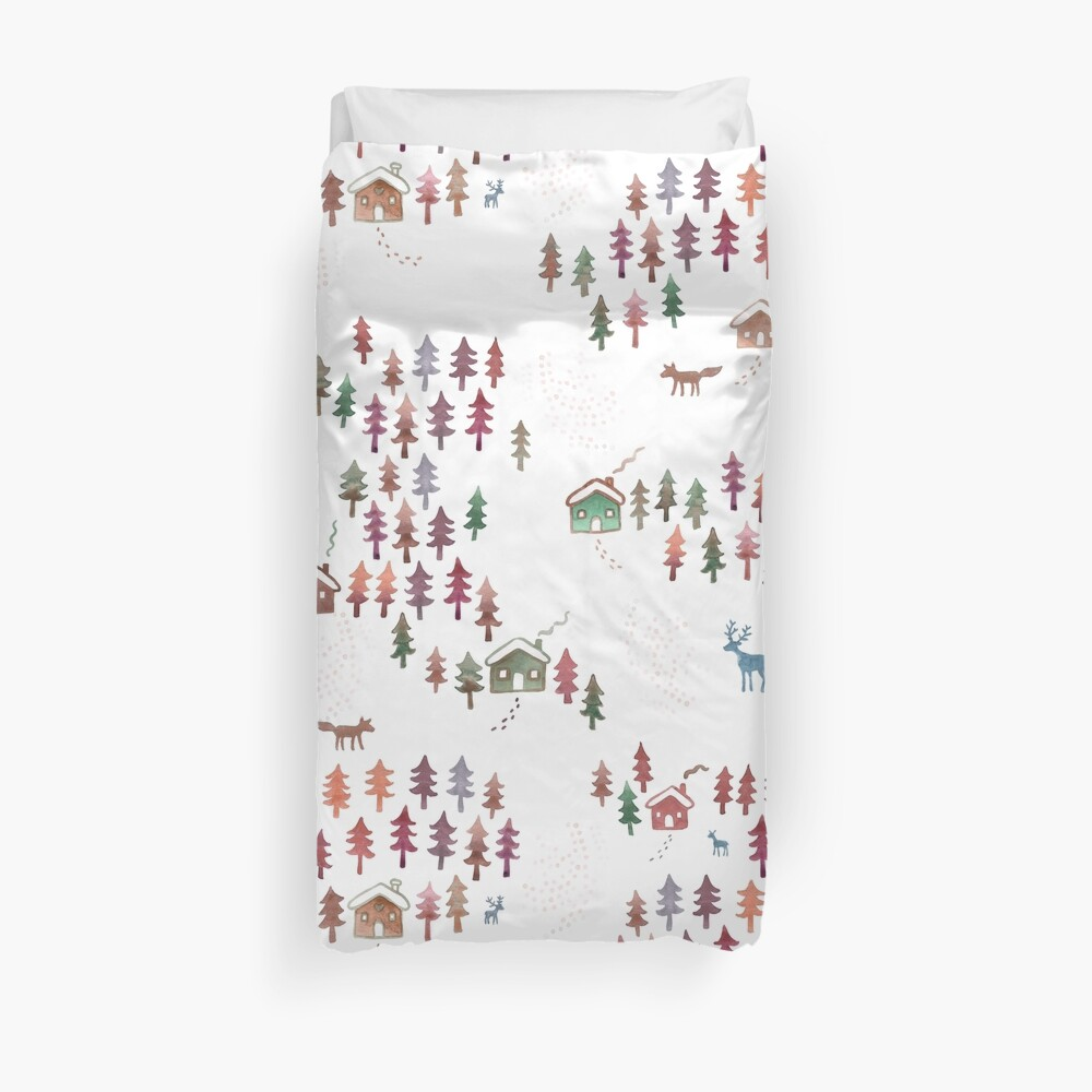 Alpine Chalets in the Snow - Autumn - Original Watercolour pattern by Cecca Designs Duvet Cover