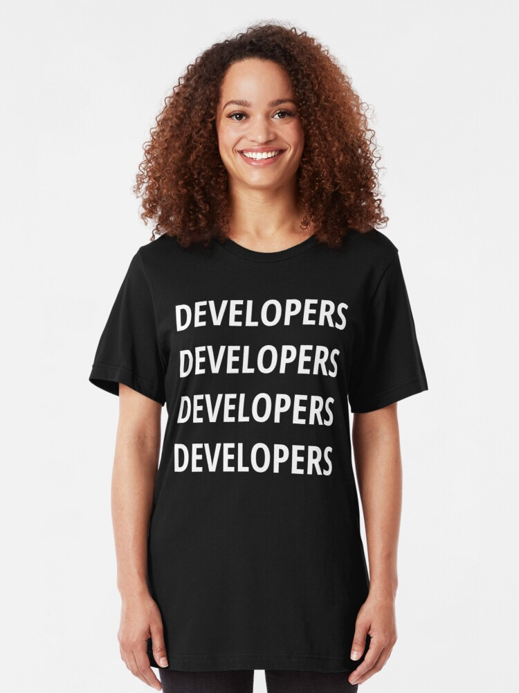 Alternate view of Funny Design for Software Developers - 4 Words White Text Slim Fit T-Shirt