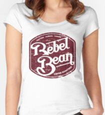 Rebel Bean Coffee Distressed Logo Women's Fitted Scoop T-Shirt