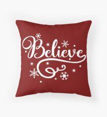 believe christmas typography throw pillow