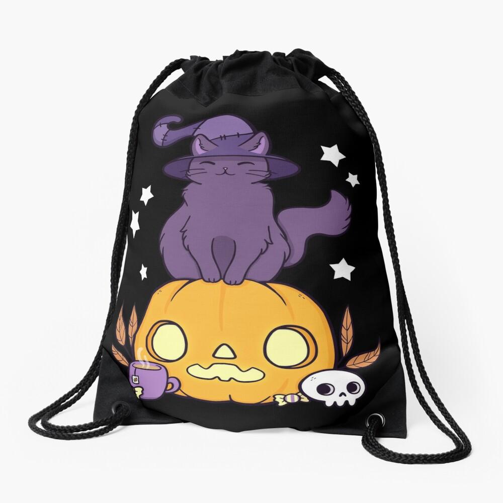 Pumpkin Cat // Black Drawstring Bag