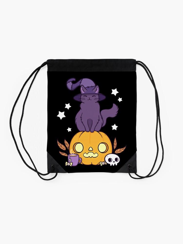 Alternate view of Pumpkin Cat // Black Drawstring Bag