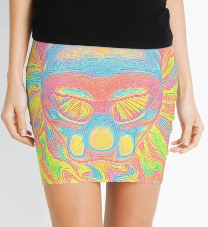 Abstract Mask Mini Skirt