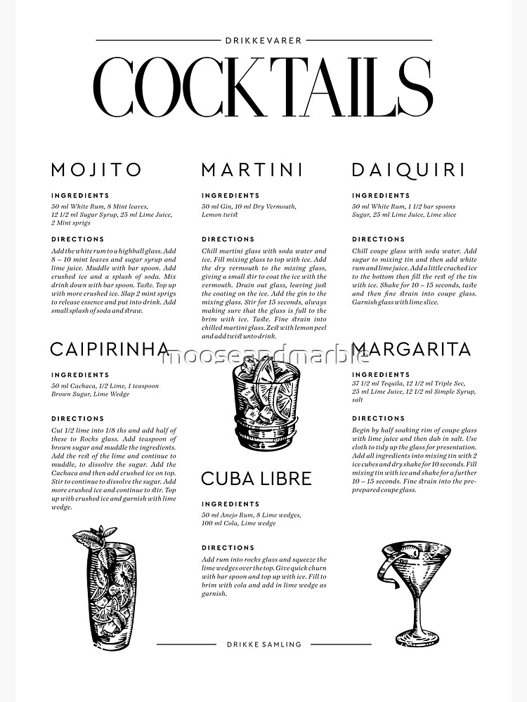 Cocktail Recipes by mooseandmarble