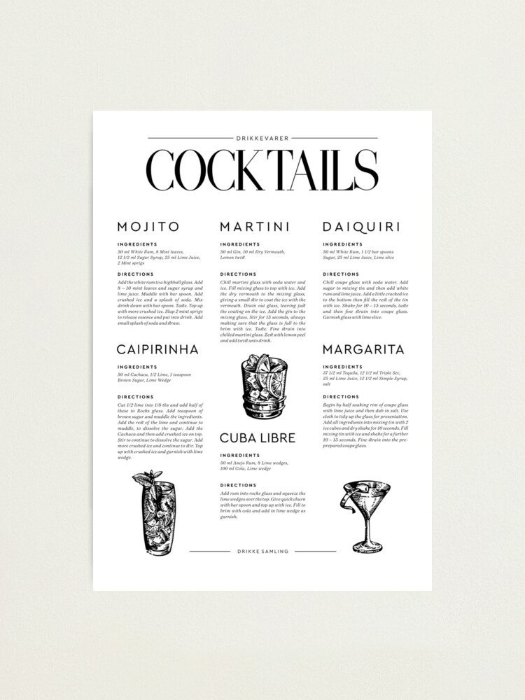 Alternate view of Cocktail Recipes Photographic Print